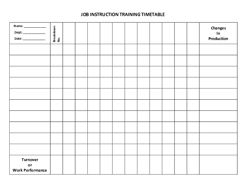 ji training timetable blank